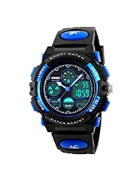 Kids Student Outdoor Waterproof Sports Watches LED Digital Analog Quartz Dual Time Zones Wristwatches for Boy Girl Multifunction Chirldren Fashion Watch (Blue)
