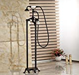 GOWE Oil Rubbed Bronze Bath Clawfoot Freestanding Tub Shower Filler Faucet Dual Handle with Handshower