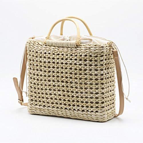 (Women's Woven Rattan Basket Tote Bag Beach Handbag Shoulder Bags)