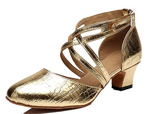 Tda Mujeres Kitten Heel Round Toe Synthetic Tango Ballroom Salsa Zapatos De Boda De Danza Latina 6 Cm Tacón Rojo