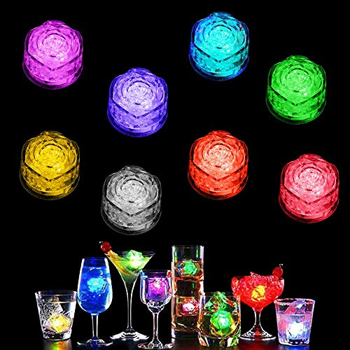 LUCKSTAR Simulation Ice Cube - 12pcs Lights Multicolor Water Submersible LED Liquid Sensor Light for Wedding Party Bar Club Champagne Tower Holiday Decoration (Rose)]()