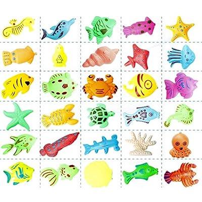 Konren 26pcs Fishing Toy Baby Bath Toy Net Fishing Game Fishing Learning Education Play Set Outdoor Fun Gift for Children Fishing Game for Kids: Toys & Games