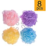 FU GLOBAL Bath Sponge Mesh Pouf 5 Inch Mesh Bath and Shower Sponge Bath Lily Pack of 8