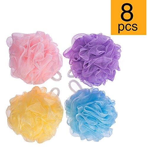 (Fuxury FU Global Pouf 5 Inch Mesh Shower Sponge Bath Lily Pack of 8)