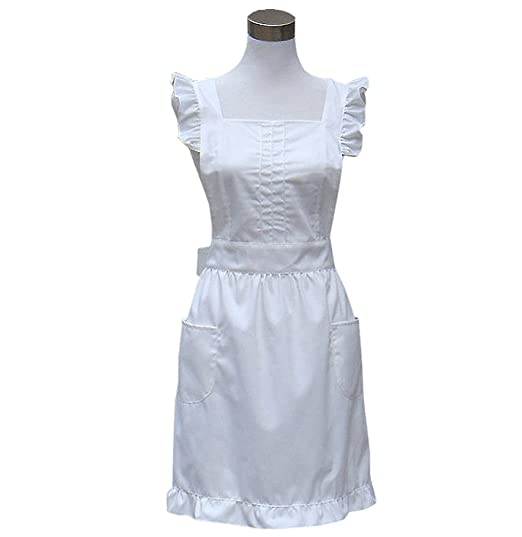 10 Things to Do with Vintage Aprons Hyzrz Retro Fancy Cute Cotton Frilly Kitchen White Apron Flirty Baking Cooking Aprons for Womens with Pockets Vintage (White) $13.99 AT vintagedancer.com