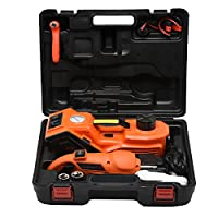MarchInn 12V DC 3.0T(6600lb) Electric Hydraulic Floor Jack and Tire Inflator Pump and LED Flashlight 3 in 1 Set with Electric Impact Wrench Car Repair Tool Kit