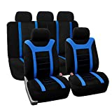 FH Group Universal Fit Full Set Sports Fabric Car Seat Cover with Airbag & Split Ready, (Blue/Black) (FH-FB070115, Fit Most Car, Truck, Suv, or Van)