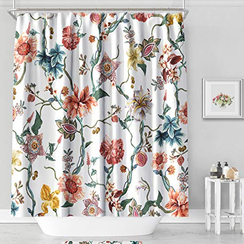 MACOFE Floral Polyester Fabric Shower Curtain 71x71,Hook Included,Anti Mold Waterproof Bathroom Curtain (Pink Flower (Floral Walmart Fabric)
