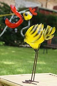 Metal Decoración Lucky Flamingo hecha a mano en dos tamaños Jardín Decoración beweglich resistente a la intemperie