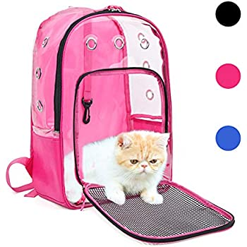 YUDODO Pink Pet Clear Carrier Backpack Adjustable Transparent Pet Cat Dog Backpack Carrier Travel Bag for Small Animals, Designed for Walking, Outdoor Use