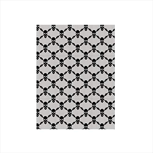 Decorative Privacy Window Film/Halloween Horror Theme Spooky Black Skulls Checkered Pattern with Skeleton Bones/No-Glue Self Static Cling for Home Bedroom Bathroom Kitchen Office Decor Black White ()