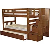 Bedz King Stairway Bunk Beds Twin over Twin with 3 Drawers in the Steps and a Twin Trundle, Espresso
