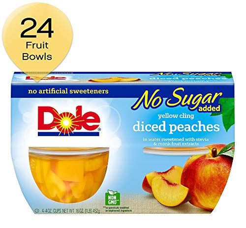 - Dole Fruit Bowls, Diced Peaches in Water, 4 Cups (Pack of 6)