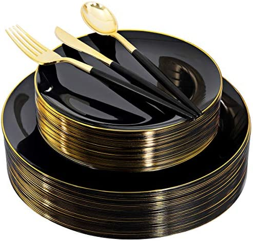 150pcs Black Plastic Dinnerware Set, Black and Gold Plates,Disposable Gold Plastic Silverware,Premiun Heavyweight Plastic Taleware,Service for 30 Guests Place Setting for Wedding,Party,Birthday