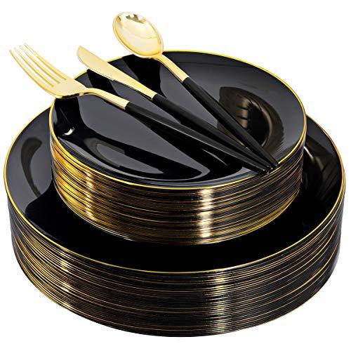150pcs Black Plastic Plates, Black and Gold Plastic Plates,Gold Plastic Silverware,Black and Gold Dinnerware Set,Premiun…