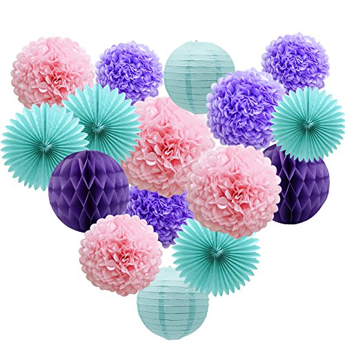 Teal Lavender Purple Pink Party Decorations 16pcs Paper Pom Poms Honeycomb Balls Blue Lanterns Tissue Fans for Wedding Birthday Baby Shower Frozen Party -