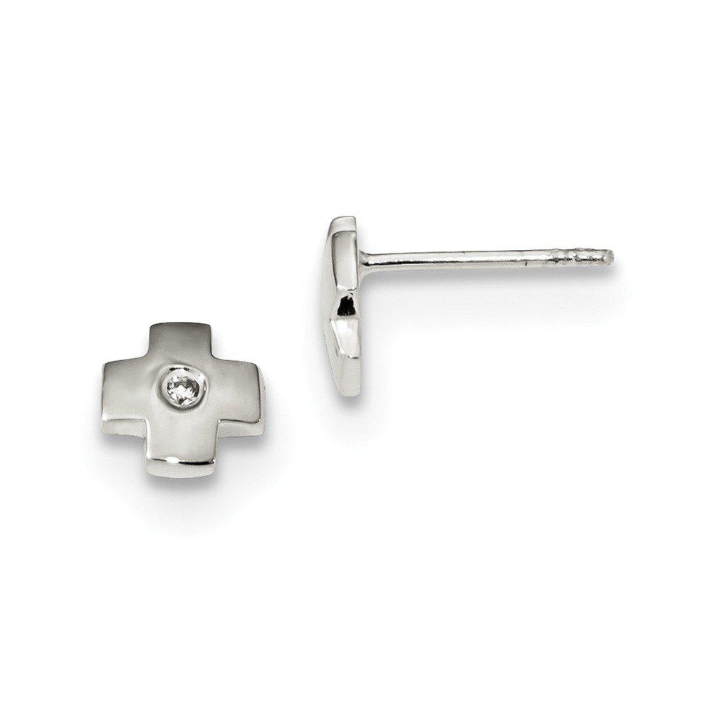 Solid 925 Sterling Silver CZ Cubic Zirconia Cross Post Earrings 6.5mm x 6.8mm