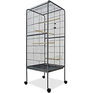 Deuba Large Bird Cage Metal Aviary XXL 4ft10 Birds House Silver Anthracite 146cm Parrot Macaw Canary