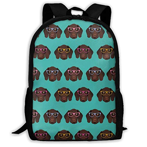 Unisex School Bag Outdoor Casual Shoulders Backpack German Shorthaired Pointer In Glasses Travel Daypacks for Women Men Kids ()