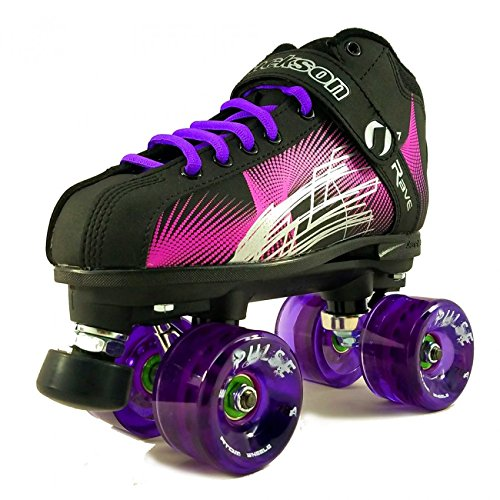 NEW Atom Jackson Rave Outdoor Roller Skate - Available in 5 Vibrant Color Options - Free Devaskation Bracelet - Black/Pink Skate - Purple Pulse Wheels - Size 4 - Jackson Skate Boots
