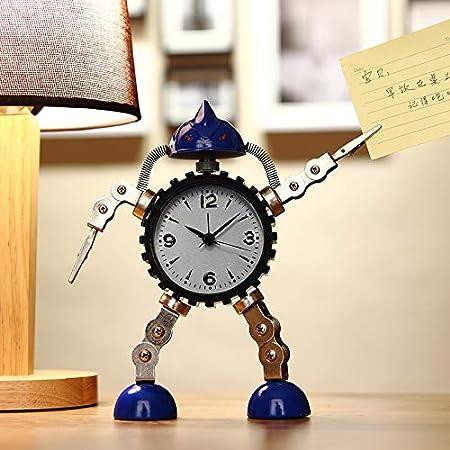 SJQ Reloj Despertador con Robot Infantil para Estudiantes de la Escuela Primaria Reloj Despertador Creativo para niños y Marchas, Reloj Despertador Robot Grande Azul: Amazon.es: Hogar
