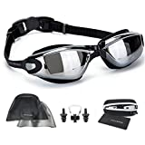 Swimming Goggles with Reversible Swim Cap + Nose Clip + Ear Plugs + Protective Case + Cleaning Cloth, Anti Fog UV Protected Goggles - Fits Men, Women, Adults, Kids
