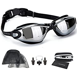 Swimming Goggles + Reversible Swim Cap + Nose Clip + Ear Plugs + Protective Case + Cleaning Cloth, Anti Fog UV Protected Goggles - Fits Men, Women, Kids