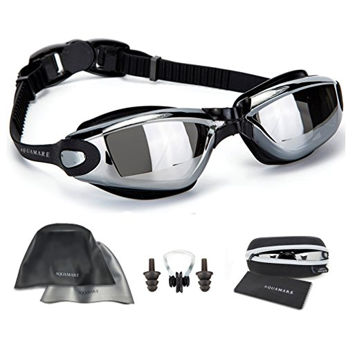 Swimming Goggles + Reversible Swim Cap + Nose Clip + Ear Plugs...
