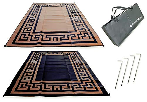 Redwood Mats Patio Mat 9' X 12' Greek Key - Brown/ Black Rv Mat Reversible Outdoor Rug Camping Indoor (With Ground Stakes & Carry Bag) (Greek Rug Outdoor Key)