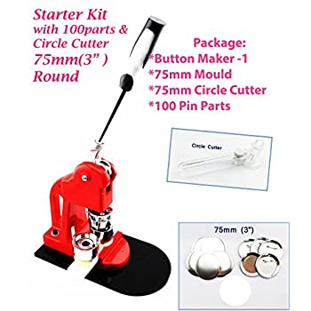 Image of ChiButtons 75mm (3' Kit) Button Maker-1 + 75mm Mould + 100 Pin Parts +Circle Cutter Metric System Crafts