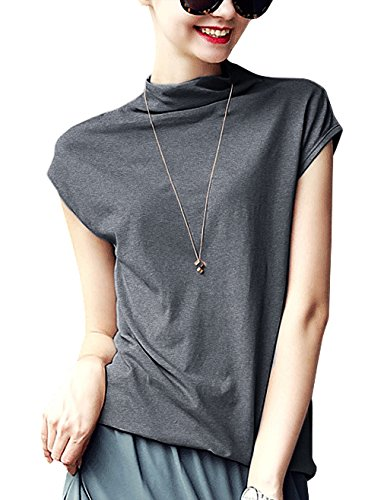 LYOYE Women's Cotton Mock Neck Sleeveless Top Tanks Turtleneck Blouse Plain Shirt Dark Gray L