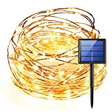 WEEPA Solar String Light, LED String Lights 33 ft 100 LED, 8 Modes Copper Wire Lights IP66 Waterproof Outdoor String Lights for Garden, Bedroom, Patio, Parties. UL588 TUVus Approved