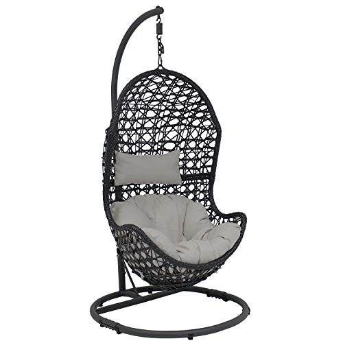 Cheap  Sunnydaze Cordelia Hanging Egg Chair Swing with Steel Stand Set, Resin Wicker,..