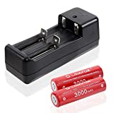 3.7V 18650 Rechargeable Li-ion Batteries with Smart Lithium Battery Charger , For Flashlight, Headlamps, search lamp ,High Drain Devices (2 Pcs, Red)