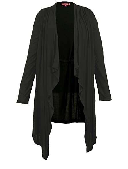 Womens Black Viscose Jersey Waterfall Cardigan - Fair Trade (14 ...