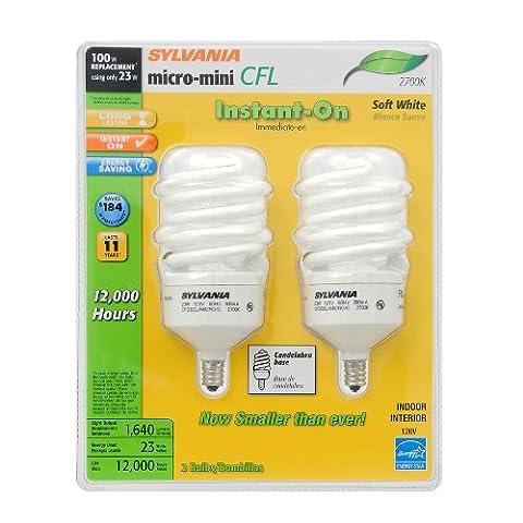 SYLVANIA 2-Pack 23-Watt (100W) Spiral Candelabra Base Soft White (2700K) CFL Bulbs Item#89927 Model#26904 UPC# (Sylvania 2700k Led)