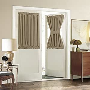 Aquazolax plain blackout curtains thermal for Insulated french doors