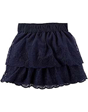 Girls' Lace Tulle Skirt; Navy