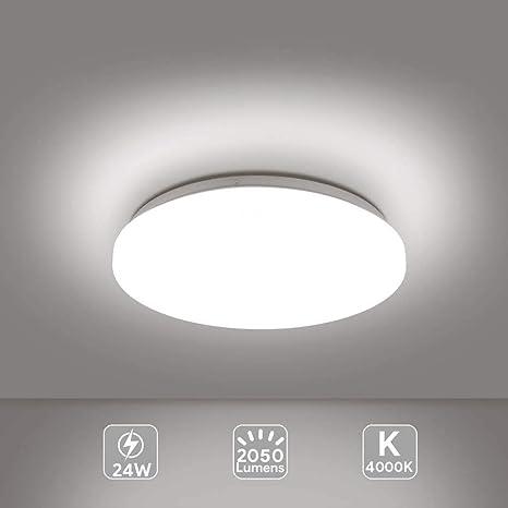 EISFEU Lámpara LED de techo moderna 24W, Plafón led de techo redonda, Luz de baño, Luz de cocina, Luz de dormitorio, Blanco 4000K Ø330mm 2050Lumens ...