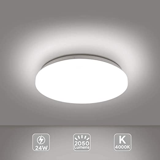 Plafoniera Led Lampada A Soffitto 4000k Warm White 24w 2050 Lumens