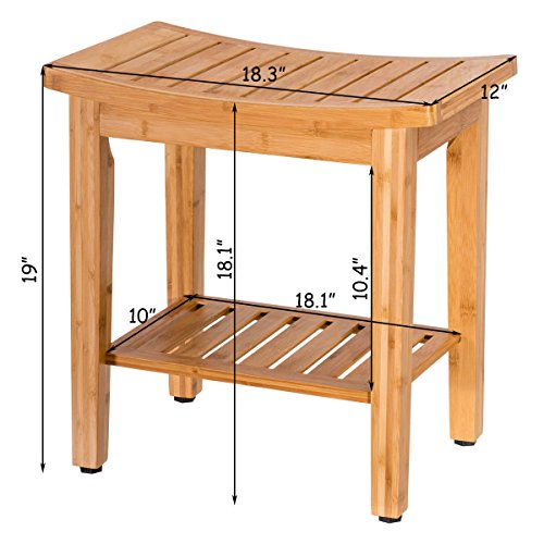 totoshopbathseat New Bamboo Shower Seat Bench Bathroom Spa Bath Organizer Stool w/Storage Shelf 18'' by totoshopbathseat (Image #1)