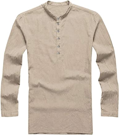 MXJEEIO 💖 Camisa Hombre Blusa Suelta Blanco T-Shirt 100% Lino Camiseta de Manga Larga
