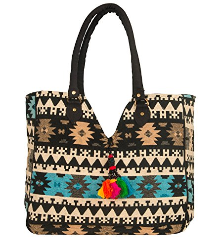 (Oversize Shoulder Bag Tote Woven Southwest School Laptop Market Summer Beach Spring Casual Geometric)