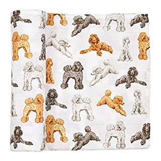 Mud Pie Poodle Muslin Swaddle Blanket, 47x47 inches