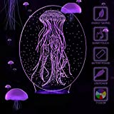YiaMia Jellyfish Night Light Baby 3D Optical Desk Lamp Changing Table Sea Decorations Party Lamps Valentines Day Home Decor Bathroom Kitchen Decorations 7 Colors USB Powered