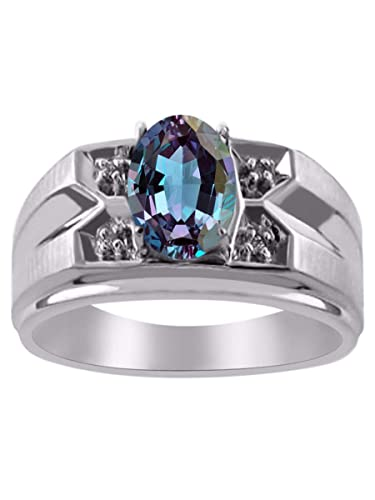 RYLOS Mens Classic Oval Gemstone /& Genuine Sparkling Diamond Ring in Sterling Silver .925-8X6MM Color Stone