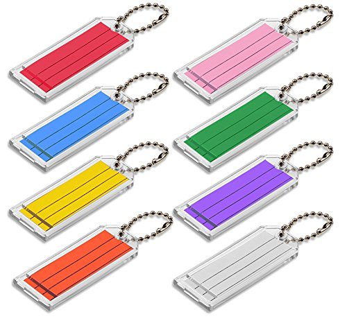 Lucky Line Large Key Tag with Ball Chain, Clear with Assorted Color Inserts, 50 per Box (90100)