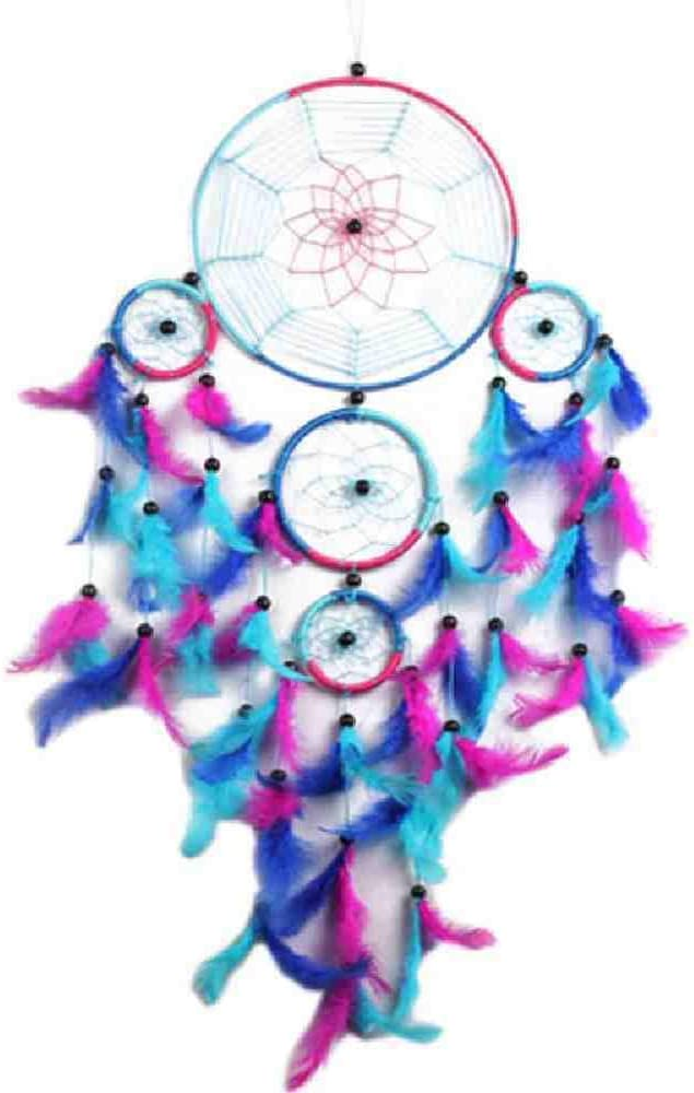 JYHW Blue Dream Catcher Decor Indian 5 Circle Blue Dream Catcher Columpios de Plumas Colgante de Pared Decoración del Hogar para El Regalo 1
