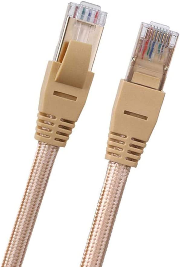 Faster Than Cat5e//Cat5//cat6 SDENSHI Cat 7 Ethernet Cable 2m 10Gbps 600Mhz Cat7 for Router Internet LAN Computer Patch Cord Modem Gold