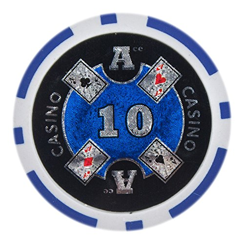Brybelly Ace Casino Poker Chip Heavyweight 14-gram Clay Composite – Pack of 50 ($10 (Casino Gaming Chips)